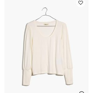 Madewell Puff sleeve scoop neck top (ivory)